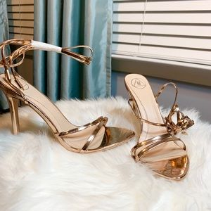 Missguided Rose Gold Ankle Lace Up Heels